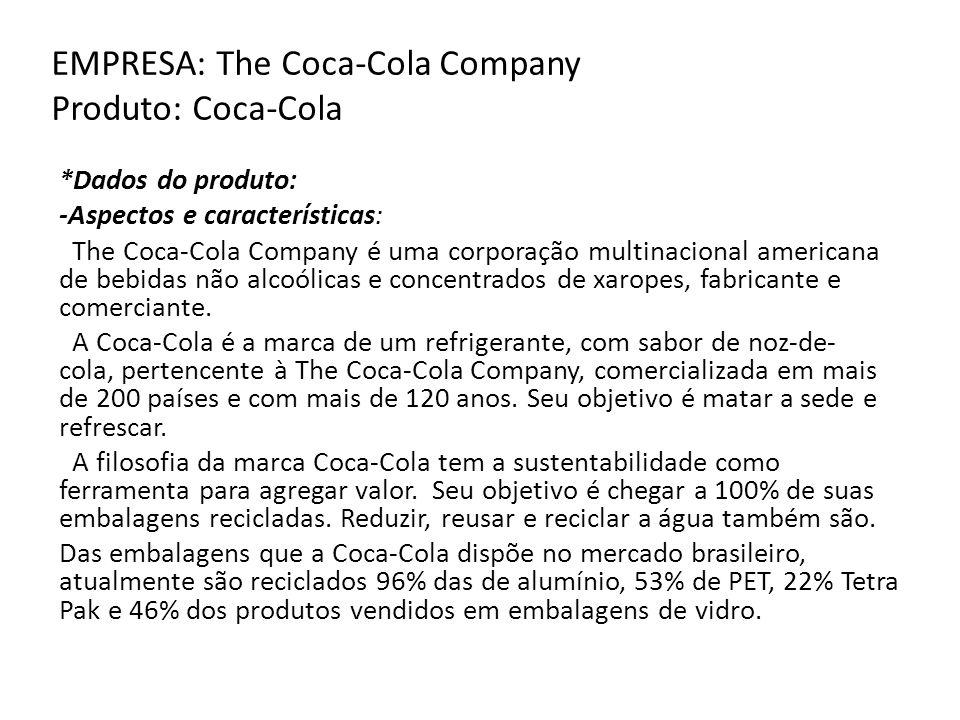 EMPRESA: The Coca-Cola Company Produto: Coca-Cola *Dados do produto: -Aspectos e características: The Coca-Cola Company é uma corporação multinacional