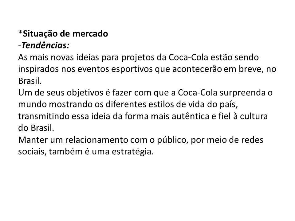 *Situação de mercado -Tendências: As mais novas ideias para projetos da Coca-Cola estão sendo inspirados nos eventos esportivos que acontecerão em bre