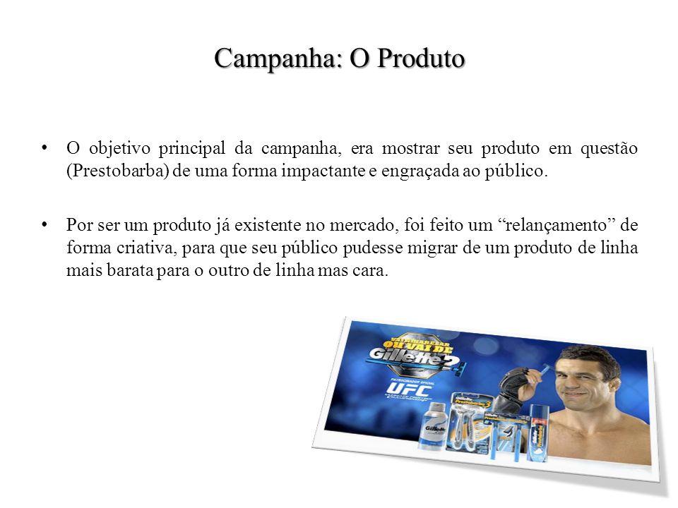 Campanha: O Produto O objetivo principal da campanha, era mostrar seu produto em questão (Prestobarba) de uma forma impactante e engraçada ao público.
