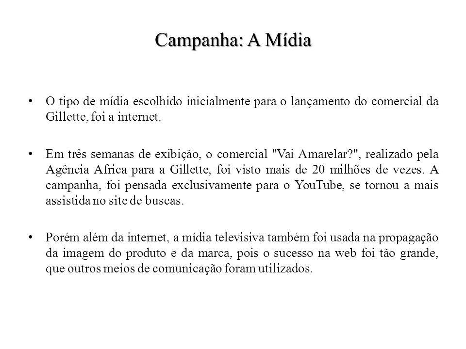 Campanha: A Mídia O tipo de mídia escolhido inicialmente para o lançamento do comercial da Gillette, foi a internet. Em três semanas de exibição, o co