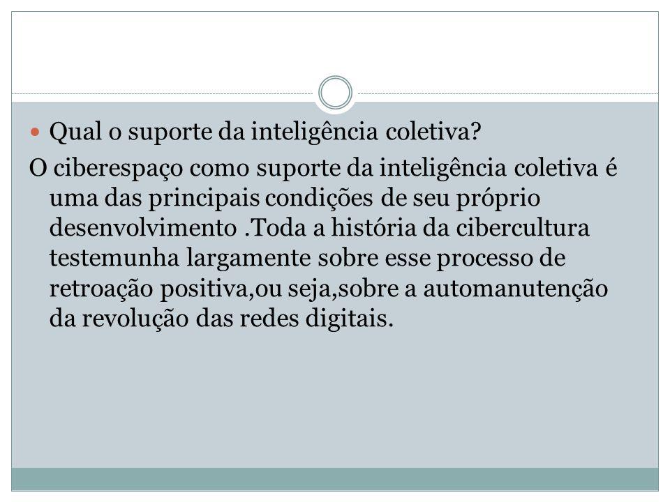 Qual o suporte da inteligência coletiva? O ciberespaço como suporte da inteligência coletiva é uma das principais condições de seu próprio desenvolvim