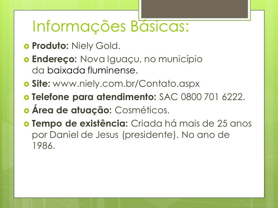 Informações Básicas: Produto: Niely Gold. Endereço: Nova Iguaçu, no município da baixada fluminense. Site: www.niely.com.br/Contato.aspx Telefone para