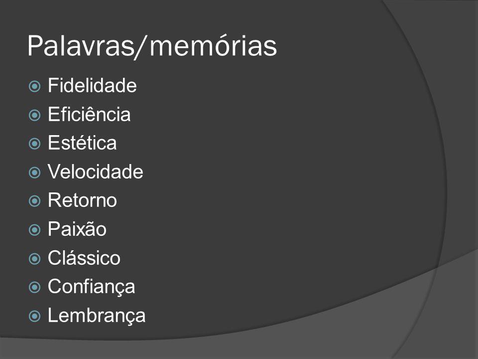 Palavras/memórias Fidelidade Eficiência Estética Velocidade Retorno Paixão Clássico Confiança Lembrança