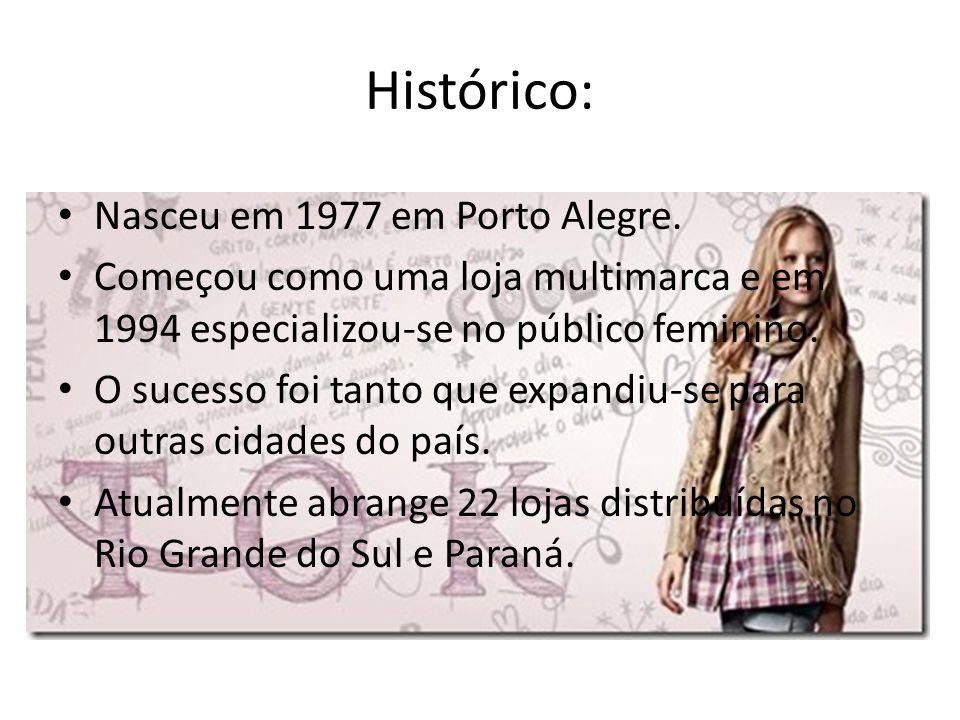 Histórico: Nasceu em 1977 em Porto Alegre. Começou como uma loja multimarca e em 1994 especializou-se no público feminino. O sucesso foi tanto que exp