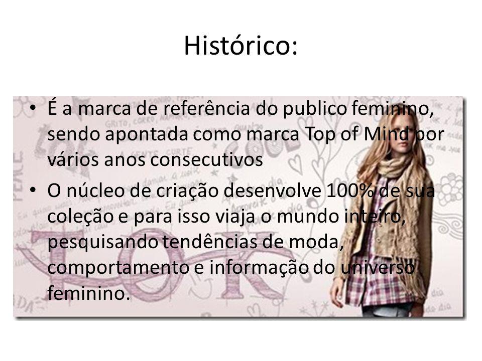 Histórico: É a marca de referência do publico feminino, sendo apontada como marca Top of Mind por vários anos consecutivos O núcleo de criação desenvo