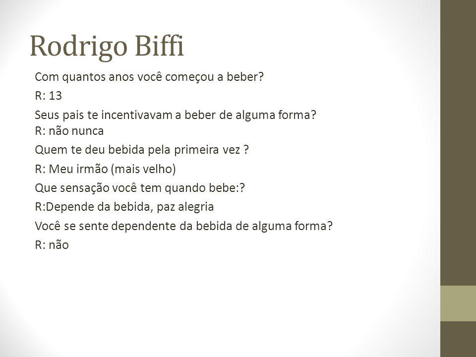 Rodrigo Biffi Com quantos anos você começou a beber.