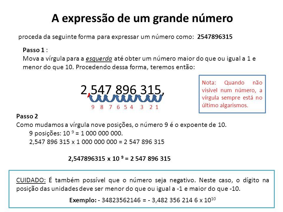 A expressão de um grande número proceda da seguinte forma para expressar um número como: 2547896315 Passo 1 : Mova a vírgula para a esquerda até obter