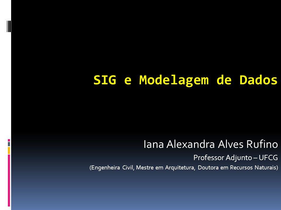 SIG e Modelagem de Dados Iana Alexandra Alves Rufino Professor Adjunto – UFCG (Engenheira Civil, Mestre em Arquitetura, Doutora em Recursos Naturais)