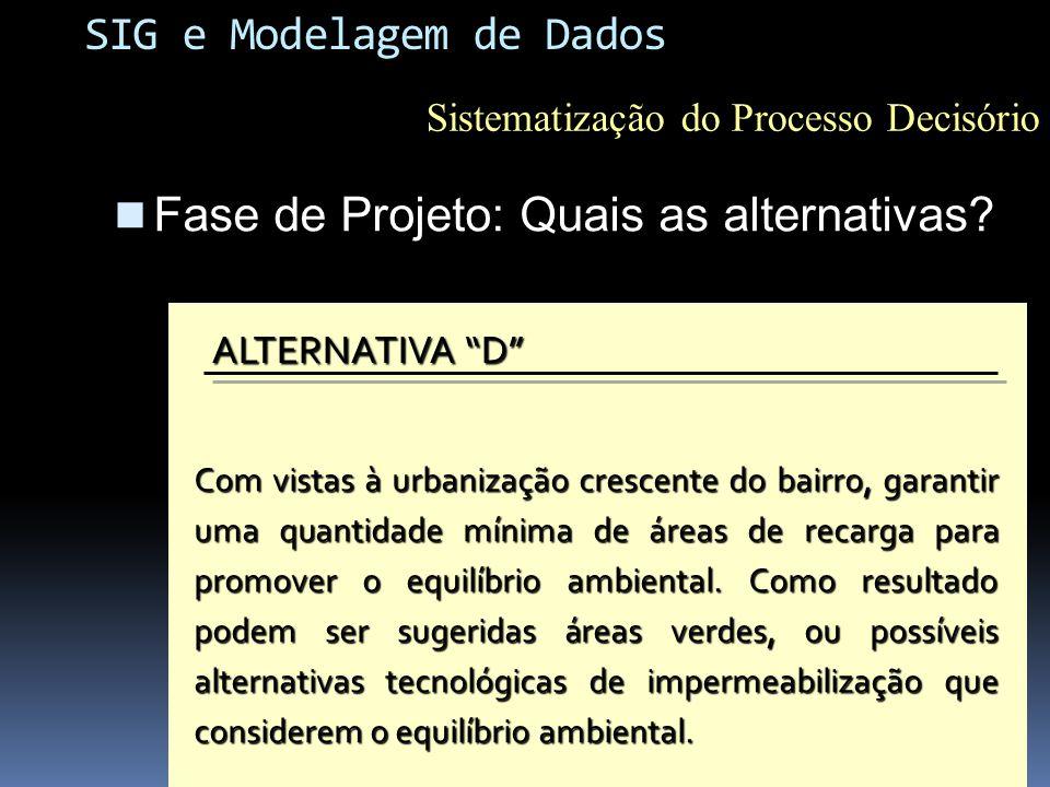 Fase de Projeto: Quais as alternativas? Fase de Projeto: Quais as alternativas? ALTERNATIVA A Estabelecer um diagnóstico do ponto de vista da suscepti