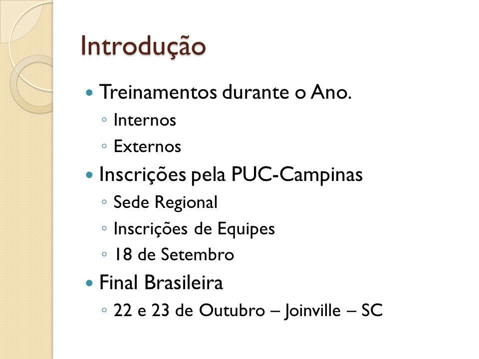 Links Importantes Site Oficial – Maratona no Brasil http://maratona.ime.usp.br/ Site Oficial – Maratona Sulamericana http://www.ic.unicamp.br/~acmcntst/ Site Oficial – Maratona Mundial http://cm.baylor.edu/welcome.icpc Juiz Online http://uva.onlinejudge.org/ http://cii-judge.baylor.edu/ Competição On-line http://www.topcoder.com/ http://queue.acm.org/icpc/ Grupo de Discussão http://br.groups.yahoo.com/group/maratona/ maratona-subscribe@yahoogrupos.com.br