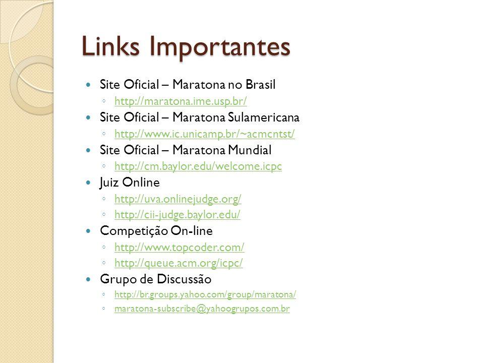 Links Importantes Soluções de Problemas http://www.algorithmist.com/index.php/Main_ Page http://www.algorithmist.com/index.php/Main_ Page http://www.uwp.edu/sws/usaco/ http://plg1.cs.uwaterloo.ca/~acm00/