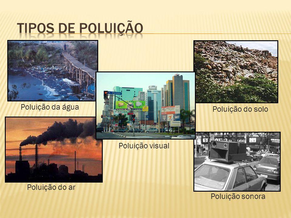 Poluição do ar Poluição do solo Poluição da água Poluição sonora Poluição visual