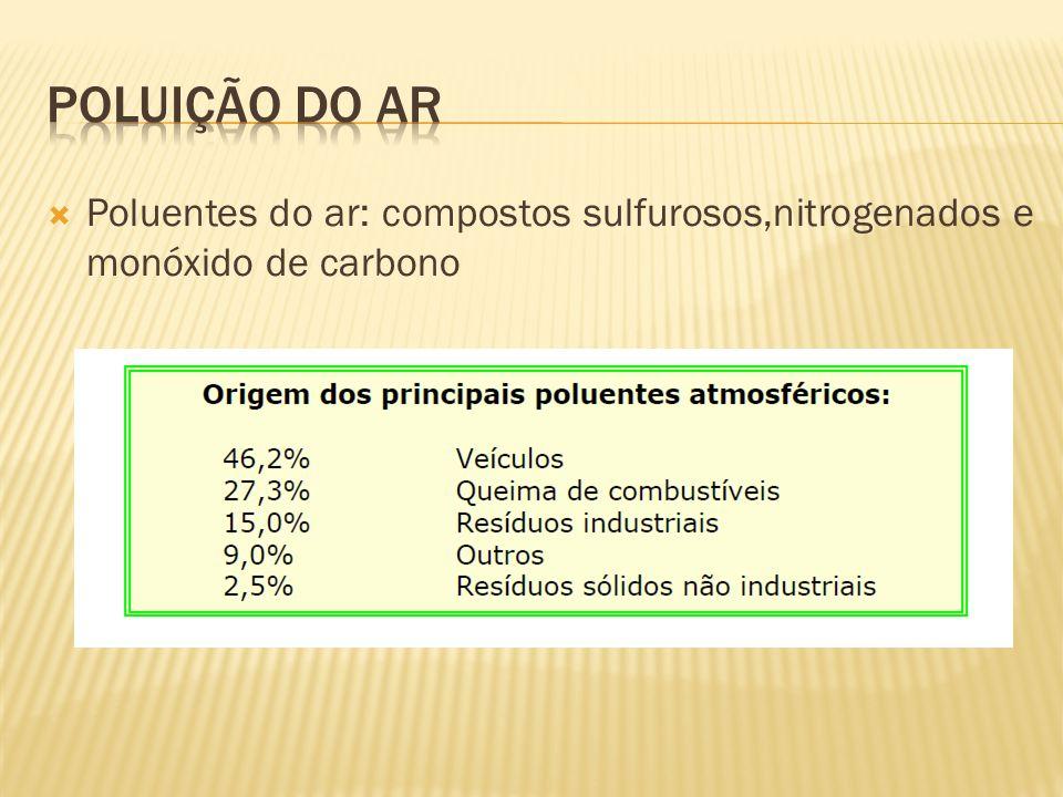 Poluentes do ar: compostos sulfurosos,nitrogenados e monóxido de carbono