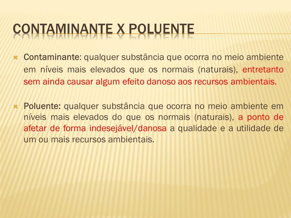 Contaminante: qualquer substância que ocorra no meio ambiente em níveis mais elevados que os normais (naturais), entretanto sem ainda causar algum efe
