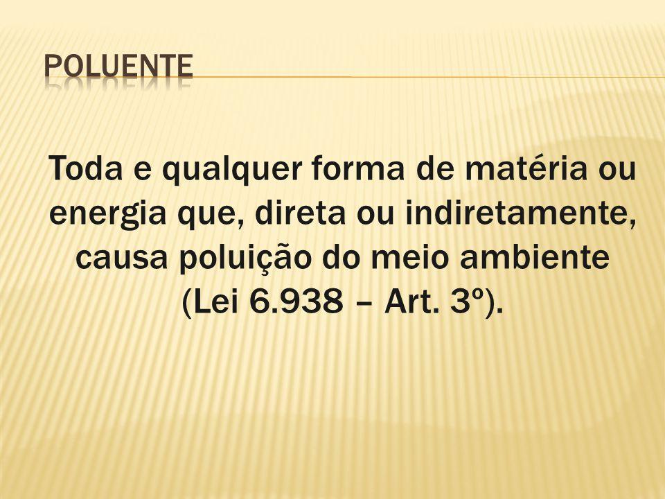Toda e qualquer forma de matéria ou energia que, direta ou indiretamente, causa poluição do meio ambiente (Lei 6.938 – Art. 3º).