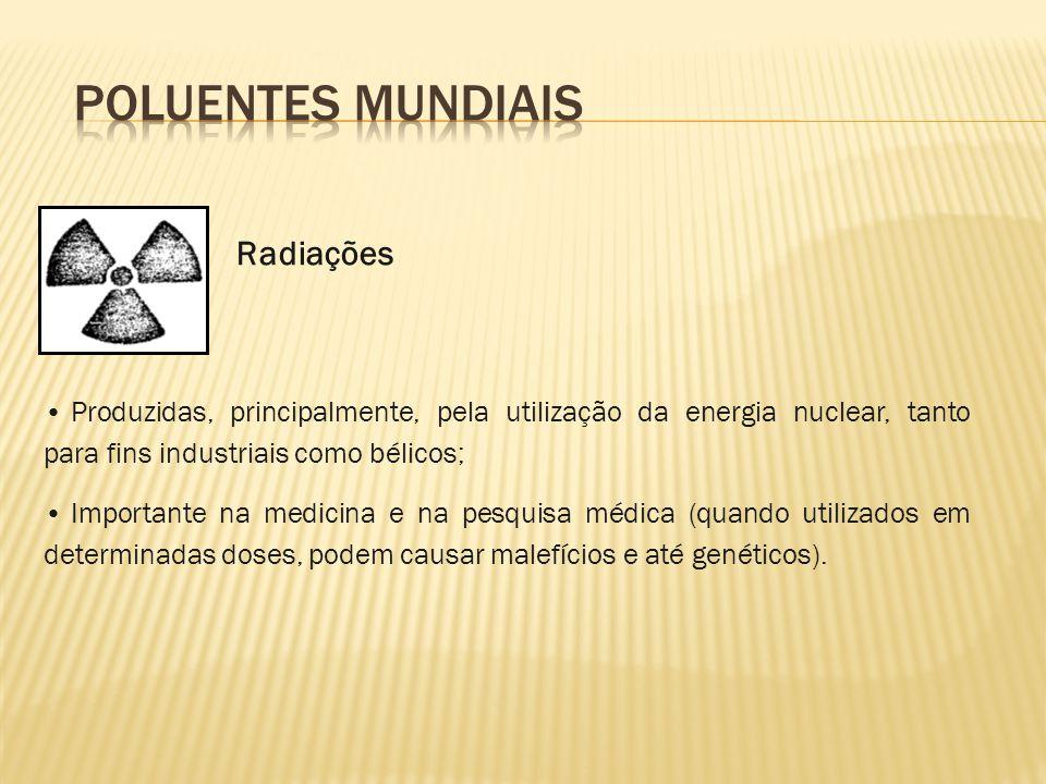 Produzidas, principalmente, pela utilização da energia nuclear, tanto para fins industriais como bélicos; Importante na medicina e na pesquisa médica
