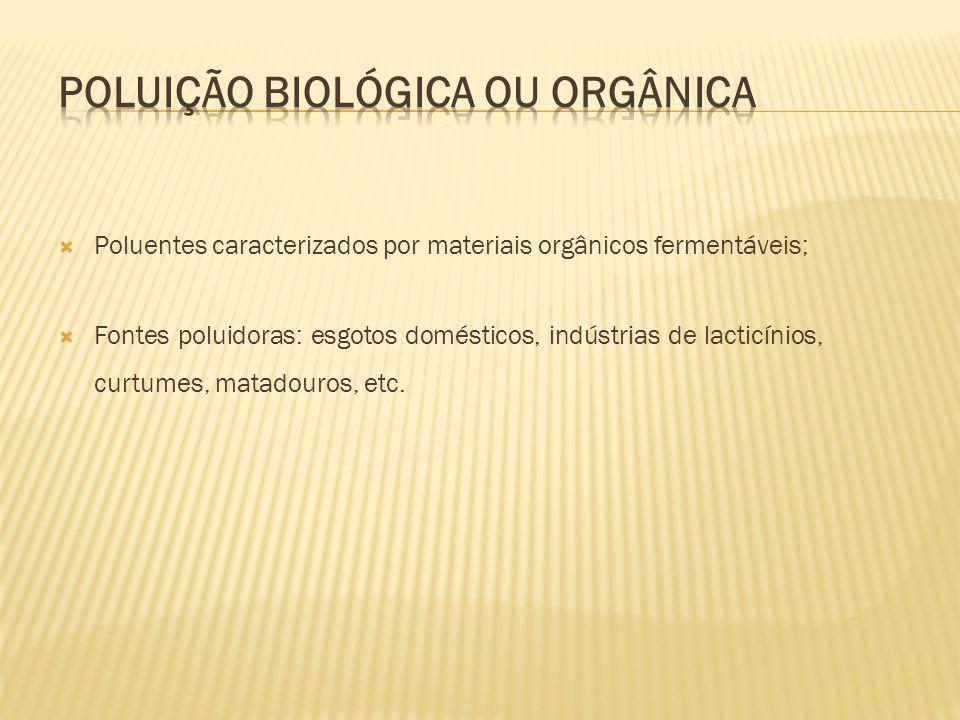 Poluentes caracterizados por materiais orgânicos fermentáveis; Fontes poluidoras: esgotos domésticos, indústrias de lacticínios, curtumes, matadouros,