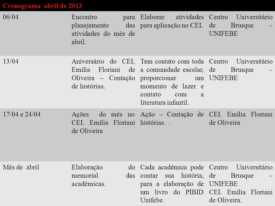 Planejamento para atuação no CEI.