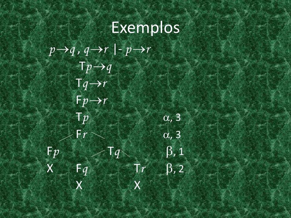 Exemplos p q, q r  - p r T p q T q r F p r T p, 3 F r, 3 F p T q, 1 X F q T r, 2 X