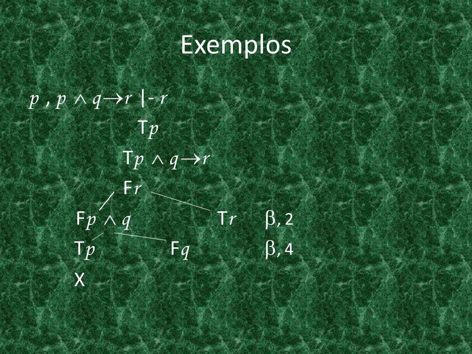 Exemplos p, p q r  - r T p T p q r F r F p q T r, 2 T p F q, 4 X