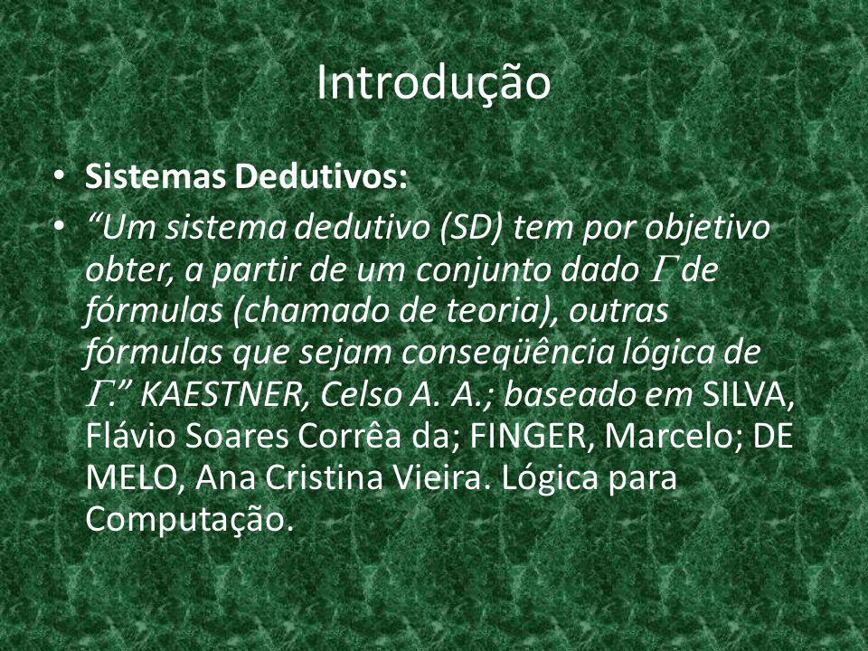 Introdução Sistemas Dedutivos: Um sistema dedutivo (SD) tem por objetivo obter, a partir de um conjunto dado de fórmulas (chamado de teoria), outras f