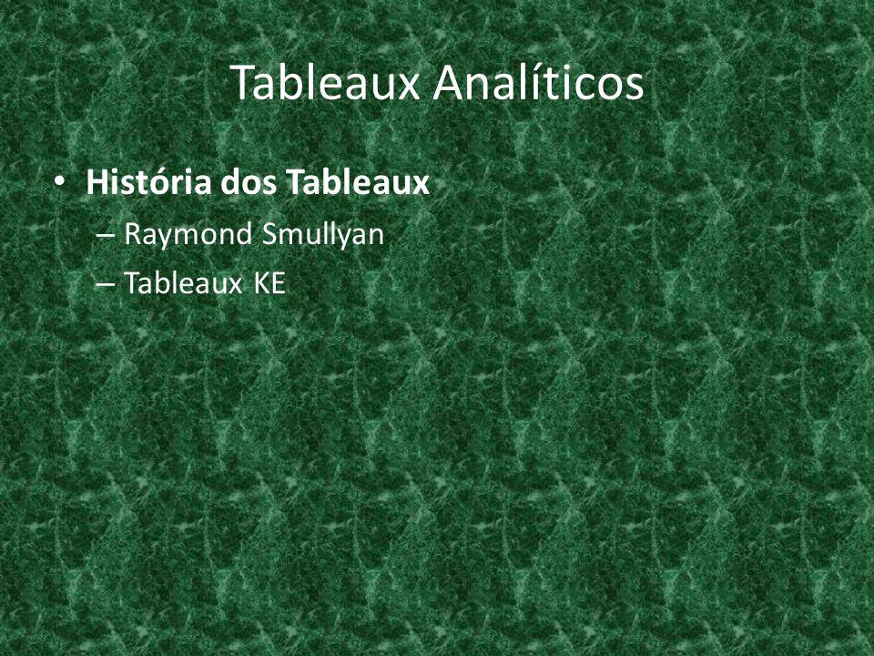 Tableaux Analíticos Procedimento de Decisão – Validade de um Sequente: se B 1, …, B n |- A 1,…, A m ou se B 1, …, B n |-/- A 1,…, A m Baseado em Refutação – { A } |- Símbolos True (T) e False (F) – T A e F B