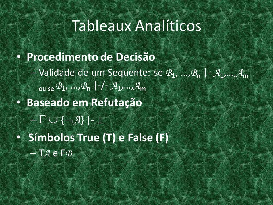 Tableaux Analíticos Procedimento de Decisão – Validade de um Sequente: se B 1, …, B n  - A 1,…, A m ou se B 1, …, B n  -/- A 1,…, A m Baseado em Refut