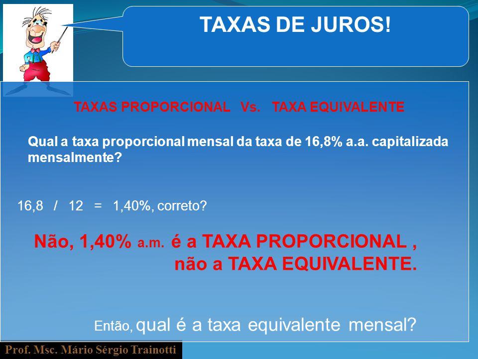 Prof. Msc. Mário Sérgio Trainotti TAXAS DE JUROS! Qual a taxa proporcional mensal da taxa de 16,8% a.a. capitalizada mensalmente? 16,8 / 12 = 1,40%, c