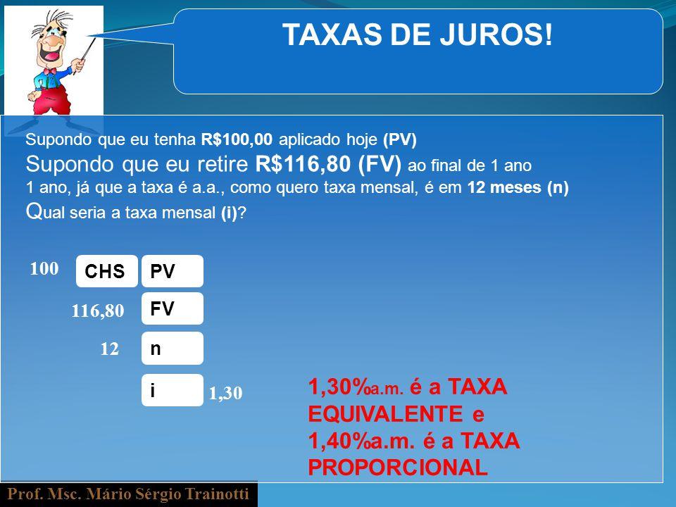Prof. Msc. Mário Sérgio Trainotti TAXAS DE JUROS! Supondo que eu tenha R$100,00 aplicado hoje (PV) Supondo que eu retire R$116,80 (FV) ao final de 1 a