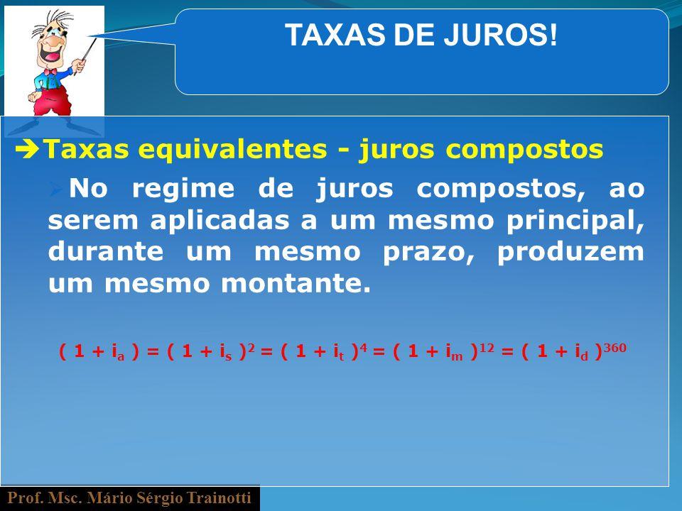 Prof. Msc. Mário Sérgio Trainotti TAXAS DE JUROS! Taxas equivalentes - juros compostos No regime de juros compostos, ao serem aplicadas a um mesmo pri