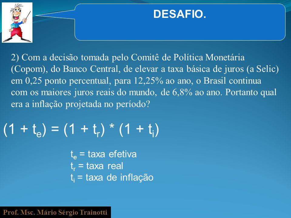 Prof. Msc. Mário Sérgio Trainotti DESAFIO. 2) Com a decisão tomada pelo Comitê de Política Monetária (Copom), do Banco Central, de elevar a taxa básic