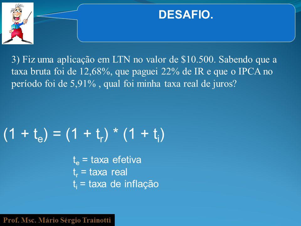 Prof. Msc. Mário Sérgio Trainotti DESAFIO. 3) Fiz uma aplicação em LTN no valor de $10.500. Sabendo que a taxa bruta foi de 12,68%, que paguei 22% de