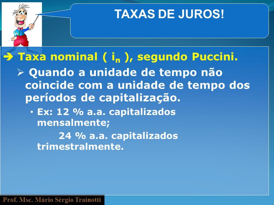 Prof. Msc. Mário Sérgio Trainotti TAXAS DE JUROS! Taxa nominal ( i n ), segundo Puccini. Quando a unidade de tempo não coincide com a unidade de tempo