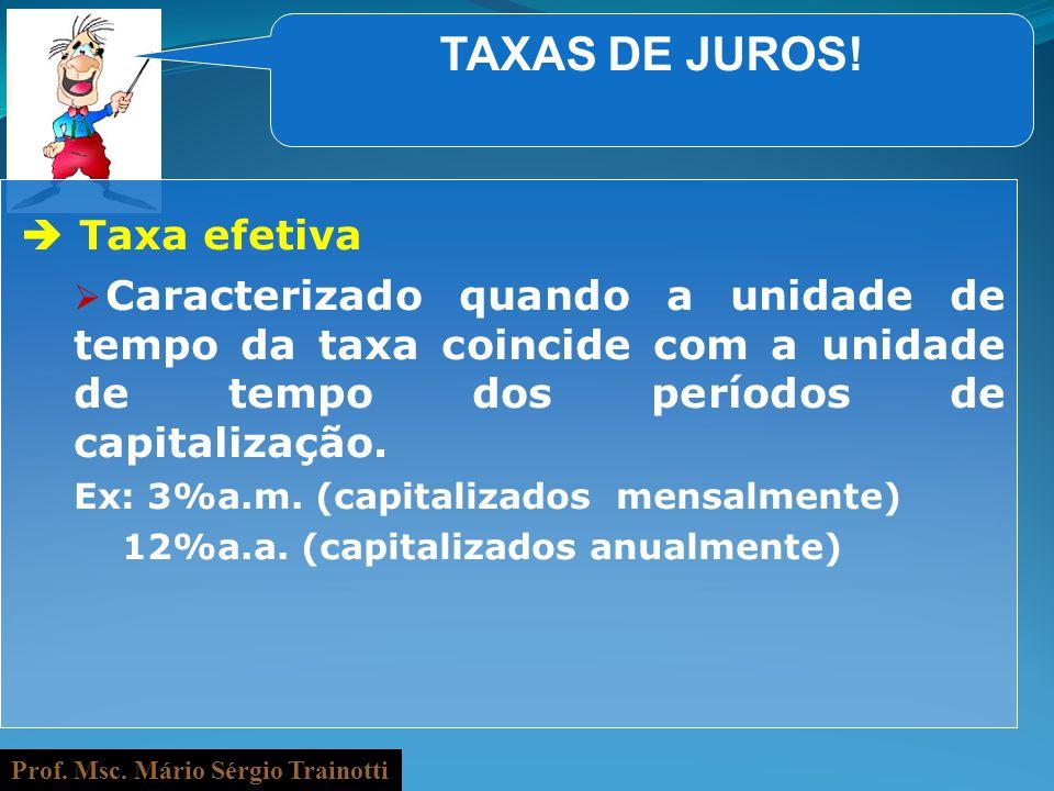 Prof. Msc. Mário Sérgio Trainotti TAXAS DE JUROS! Taxa efetiva Caracterizado quando a unidade de tempo da taxa coincide com a unidade de tempo dos per
