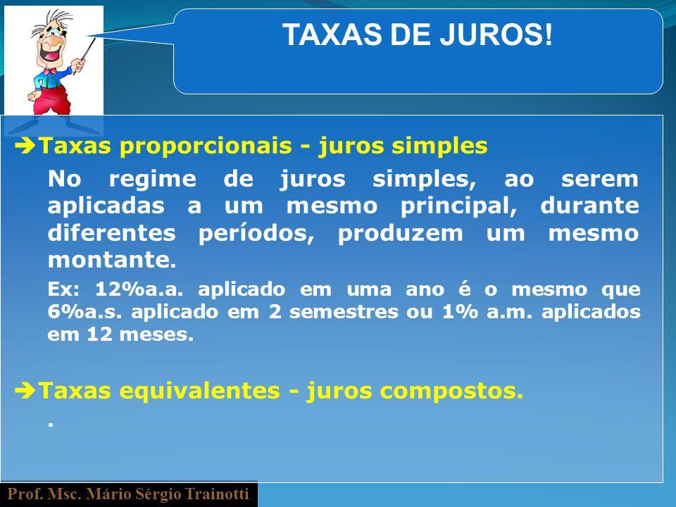 Prof. Msc. Mário Sérgio Trainotti TAXAS DE JUROS! Taxas proporcionais - juros simples No regime de juros simples, ao serem aplicadas a um mesmo princi