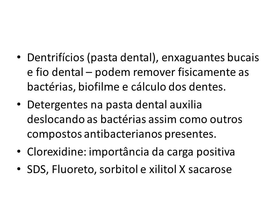 Dentrifícios (pasta dental), enxaguantes bucais e fio dental – podem remover fisicamente as bactérias, biofilme e cálculo dos dentes. Detergentes na p