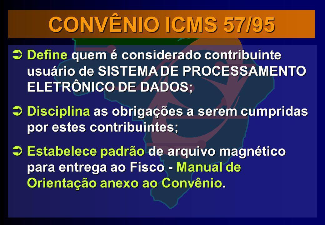 CONVÊNIO ICMS 57/95 Define quem é considerado contribuinte usuário de SISTEMA DE PROCESSAMENTO ELETRÔNICO DE DADOS; Define quem é considerado contribu