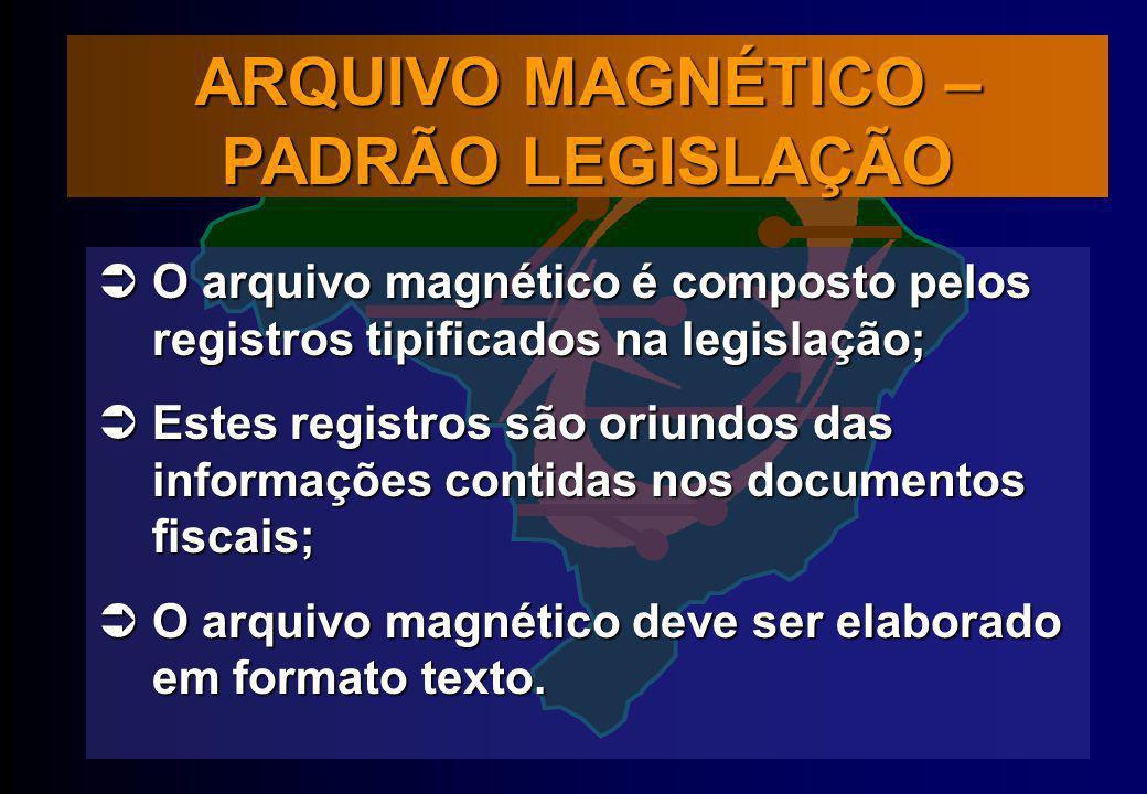 O arquivo magnético é composto pelos registros tipificados na legislação; O arquivo magnético é composto pelos registros tipificados na legislação; Es