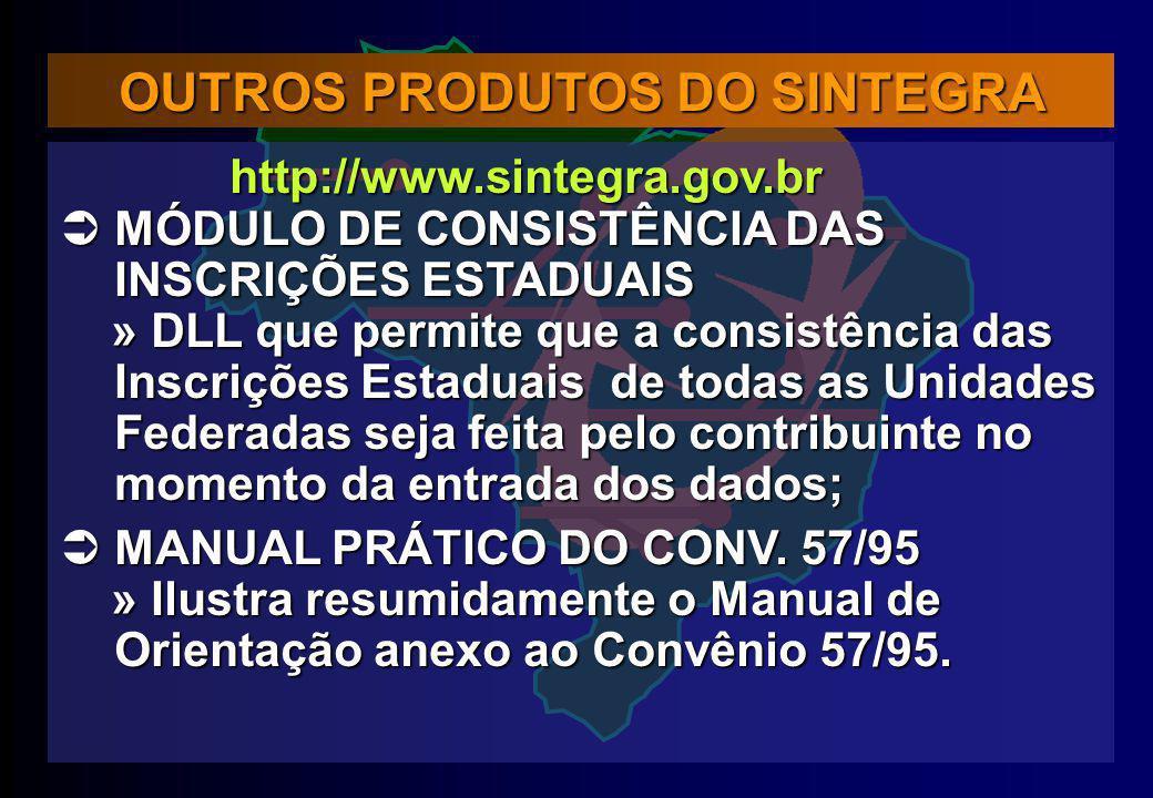 OUTROS PRODUTOS DO SINTEGRA http://www.sintegra.gov.br http://www.sintegra.gov.br MÓDULO DE CONSISTÊNCIA DAS INSCRIÇÕES ESTADUAIS MÓDULO DE CONSISTÊNC