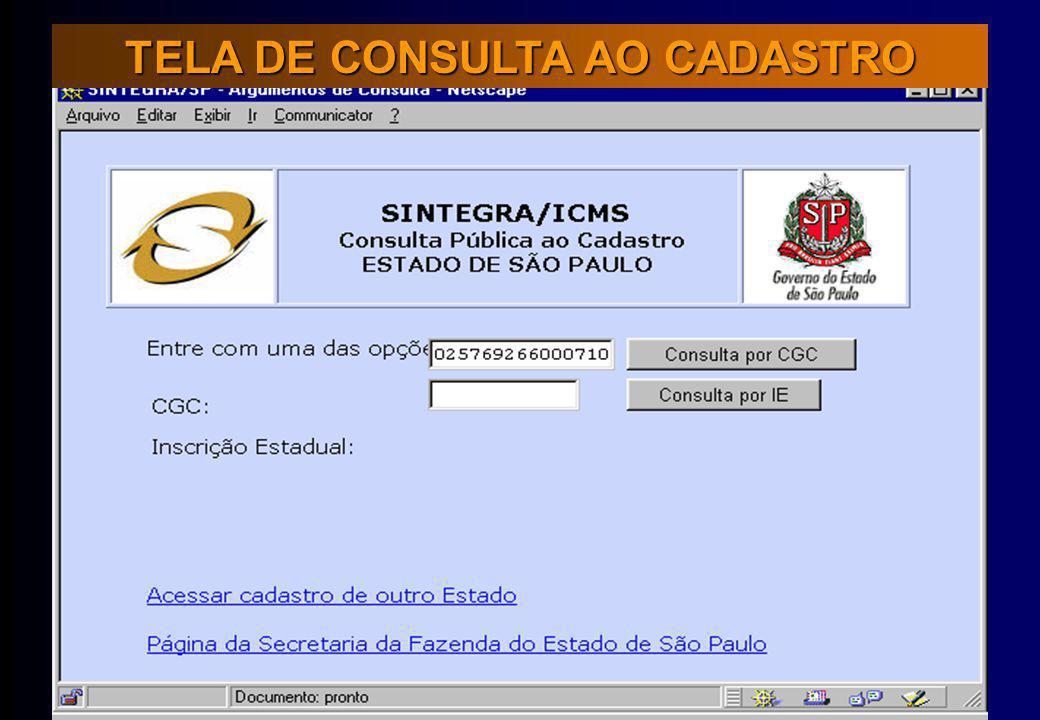 TELA DE CONSULTA AO CADASTRO