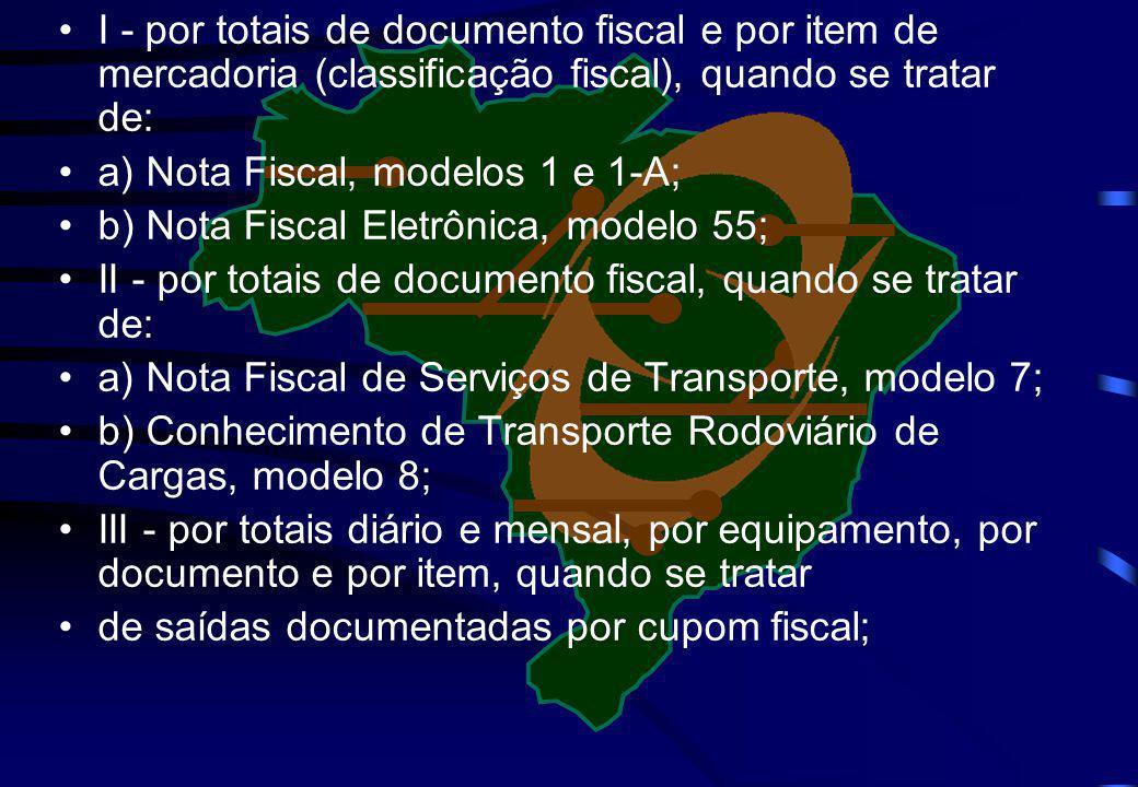I - por totais de documento fiscal e por item de mercadoria (classificação fiscal), quando se tratar de: a) Nota Fiscal, modelos 1 e 1-A; b) Nota Fisc