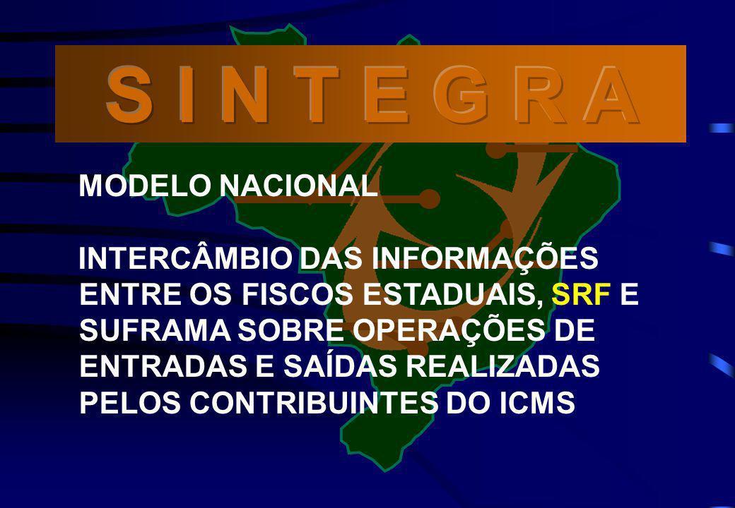 MODELO NACIONAL INTERCÂMBIO DAS INFORMAÇÕES ENTRE OS FISCOS ESTADUAIS, SRF E SUFRAMA SOBRE OPERAÇÕES DE ENTRADAS E SAÍDAS REALIZADAS PELOS CONTRIBUINT