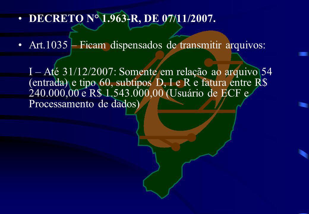 DECRETO N° 1.963-R, DE 07/11/2007. Art.1035 – Ficam dispensados de transmitir arquivos: I – Até 31/12/2007: Somente em relação ao arquivo 54 (entrada)
