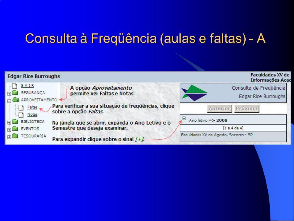 Consulta à Freqüência (aulas e faltas) - A