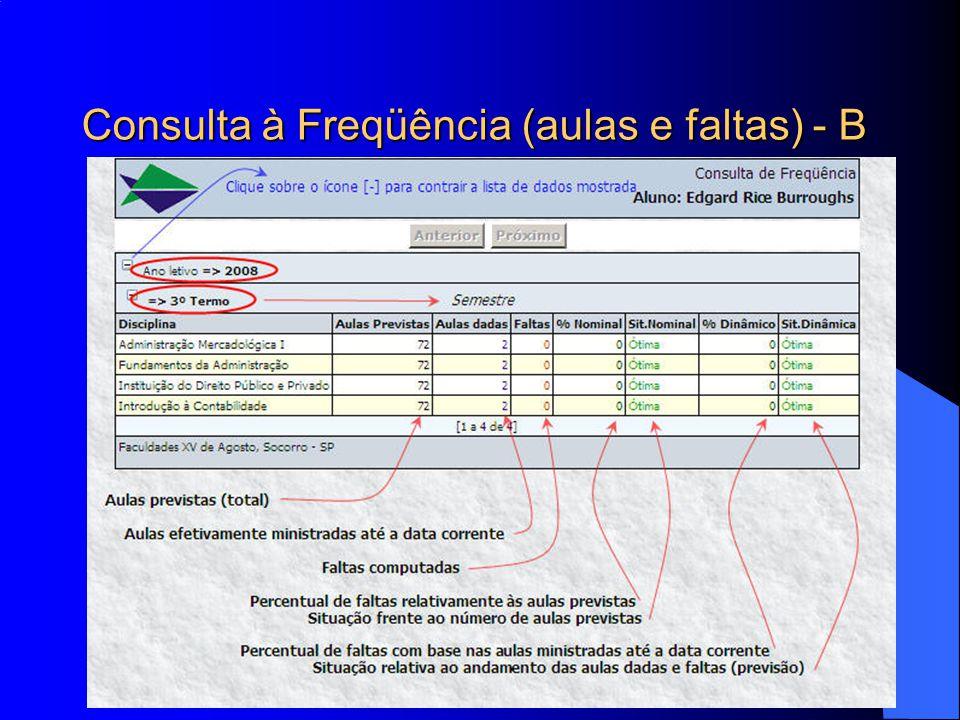 Consulta à Freqüência (aulas e faltas) - B
