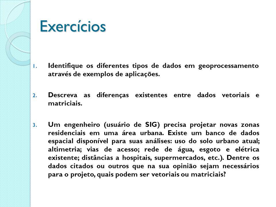 Exercícios 1. Identifique os diferentes tipos de dados em geoprocessamento através de exemplos de aplicações. 2. Descreva as diferenças existentes ent