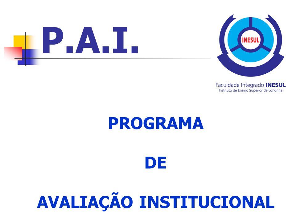 P.A.I. PROGRAMA DE AVALIAÇÃO INSTITUCIONAL
