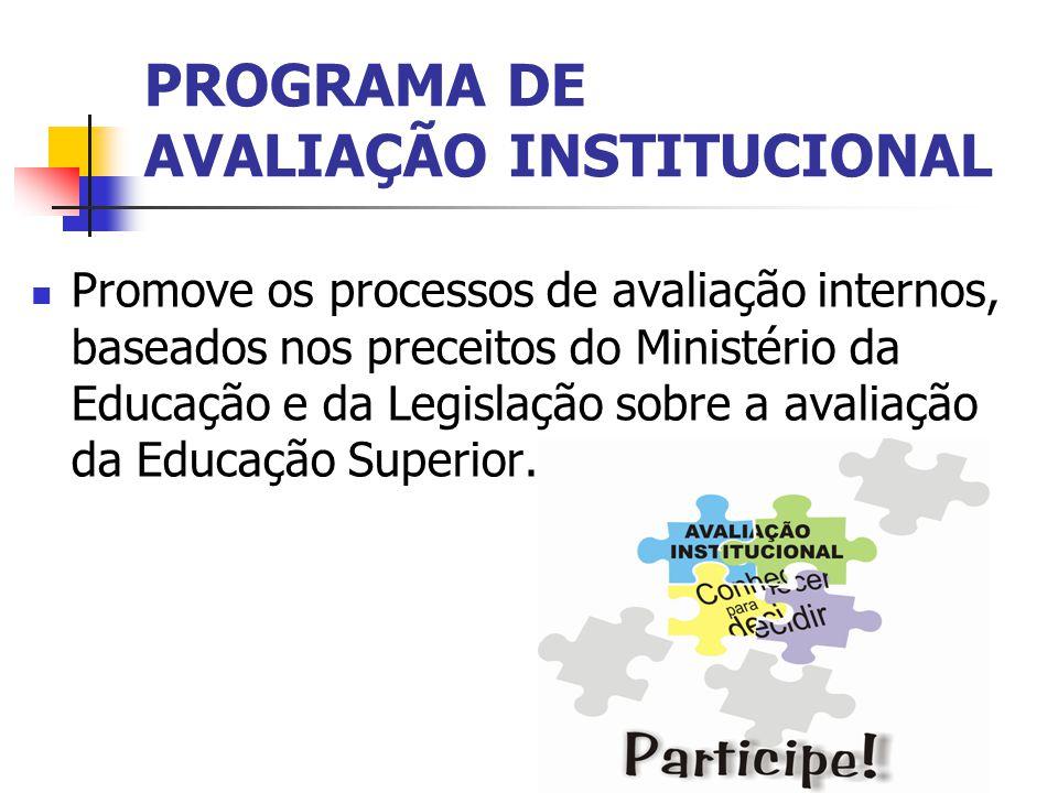 PROGRAMA DE AVALIAÇÃO INSTITUCIONAL Promove os processos de avaliação internos, baseados nos preceitos do Ministério da Educação e da Legislação sobre a avaliação da Educação Superior.