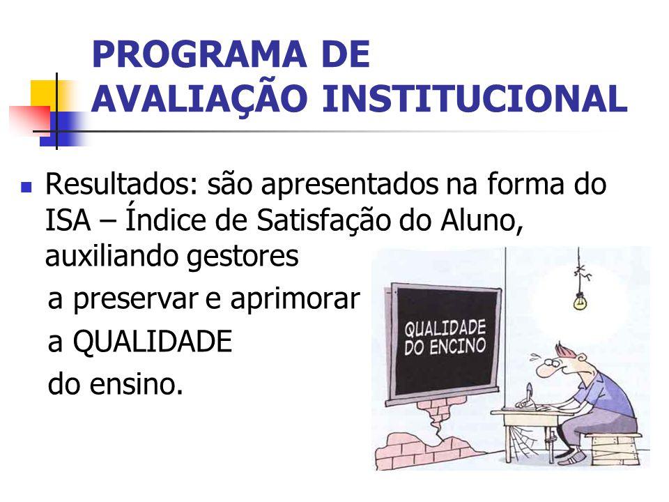 PROGRAMA DE AVALIAÇÃO INSTITUCIONAL Resultados: são apresentados na forma do ISA – Índice de Satisfação do Aluno, auxiliando gestores a preservar e aprimorar a QUALIDADE do ensino.