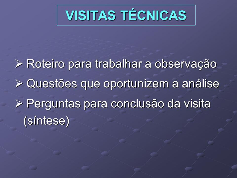 VISITAS TÉCNICAS Roteiro para trabalhar a observação Roteiro para trabalhar a observação Questões que oportunizem a análise Questões que oportunizem a análise Perguntas para conclusão da visita (síntese) Perguntas para conclusão da visita (síntese)